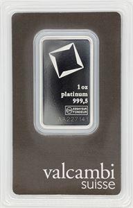 Picture of  1 oz Platinum Bar Valcambi